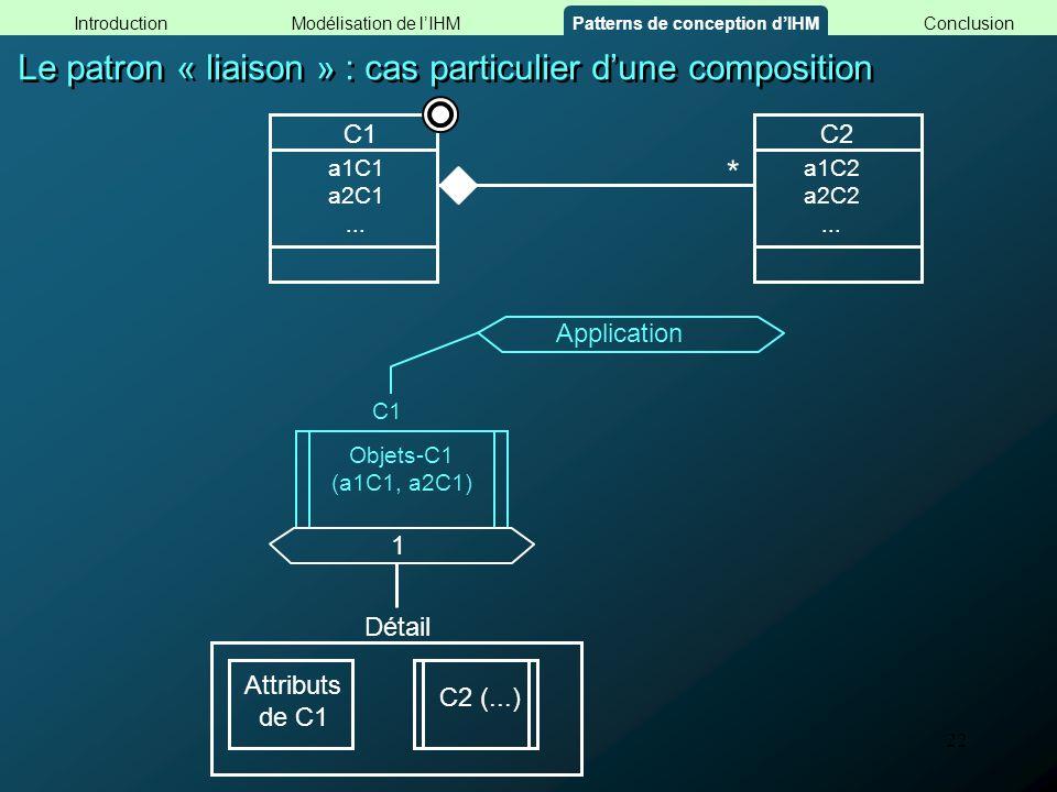 22 Le patron « liaison » : cas particulier dune composition Objets-C1 (a1C1, a2C1) C1 Application 1 Détail Attributs de C1 C2 (...) C1C2 a1C2 a2C2...