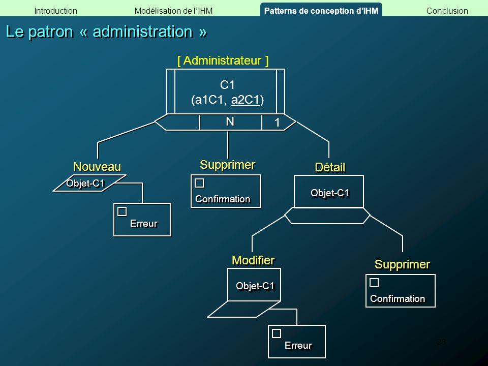 23 Le patron « administration » ConfirmationConfirmation N N Supprimer Objet-C1Objet-C1 1 Détail ConfirmationConfirmation Supprimer Modifier ErreurErr