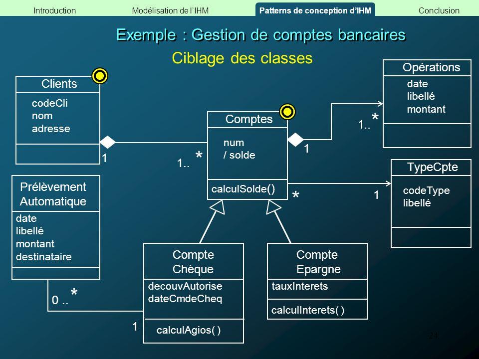 24 Exemple : Gestion de comptes bancaires TypeCpte codeType libellé * 1 Clients codeCli nom adresse 1 1.. * Comptes num / solde calculSolde () Ciblage