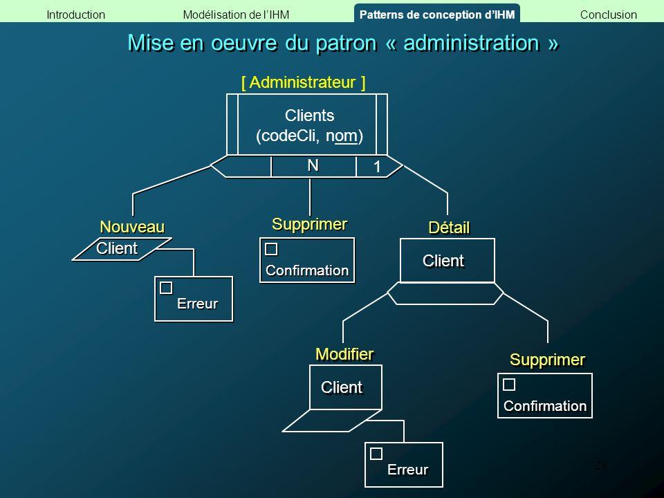 28 Mise en oeuvre du patron « administration » Confirmation N N Supprimer Client 1 Détail Confirmation Supprimer Modifier Erreur Client Erreur Nouveau
