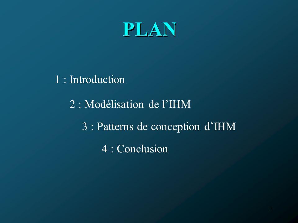 4 Introduction 1 1 Modélisation de lIHMConclusionPatterns de conception dIHM Introduction