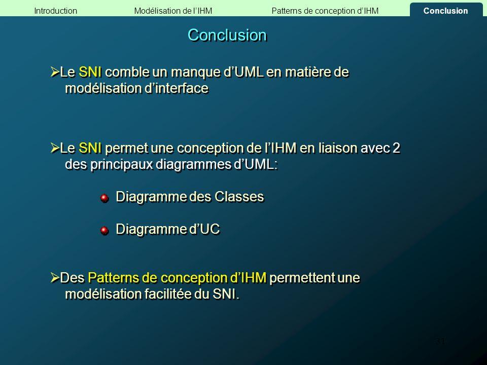 31 Le SNI permet une conception de lIHM en liaison avec 2 des principaux diagrammes dUML: Diagramme des Classes Diagramme dUC Le SNI permet une concep
