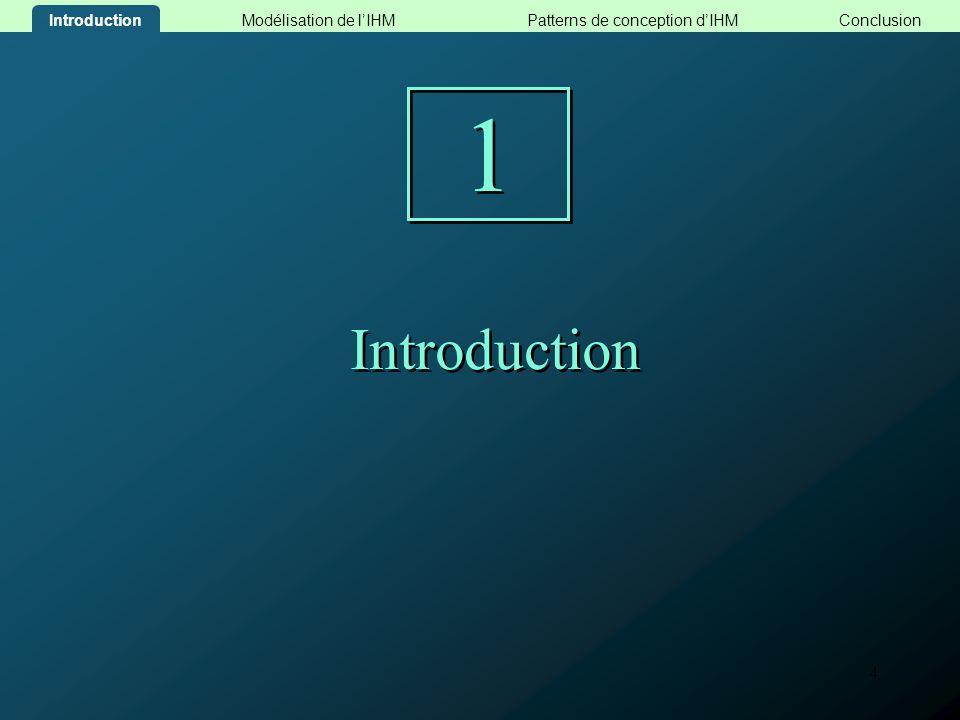 15 Patterns de conception dIHM 3 3 Modélisation de lIHMConclusionPatterns de conception dIHMIntroduction
