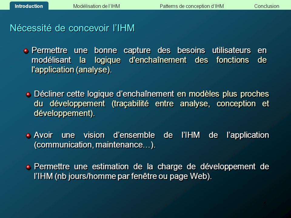 5 Nécessité de concevoir lIHM Permettre une bonne capture des besoins utilisateurs en modélisant la logique d'enchaînement des fonctions de l'applicat