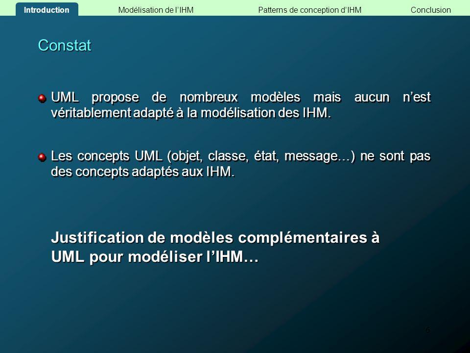 6 Constat UML propose de nombreux modèles mais aucun nest véritablement adapté à la modélisation des IHM. Les concepts UML (objet, classe, état, messa