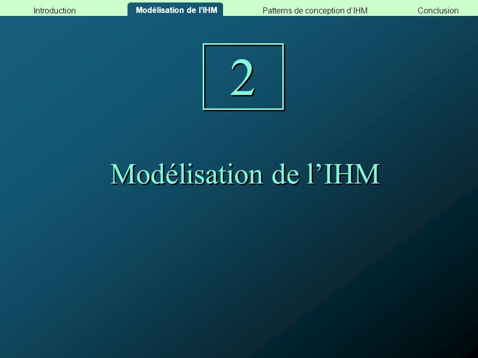 8 Les modèles dIHM de la méthode MACAO Modèle Conceptuel dIHM (MCI) http://www.iut-blagnac.fr/MACAO/PageMACAO.html Modèle Logique dIHM (MLI) Modélisation de lIHM ConclusionPatterns de conception dIHMIntroduction