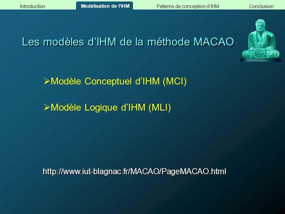 8 Les modèles dIHM de la méthode MACAO Modèle Conceptuel dIHM (MCI) http://www.iut-blagnac.fr/MACAO/PageMACAO.html Modèle Logique dIHM (MLI) Modélisat
