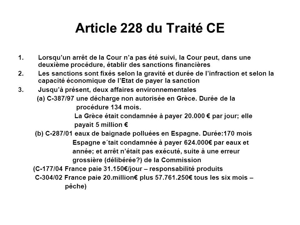 Article 228 du Traité CE 1.Lorsquun arrêt de la Cour na pas été suivi, la Cour peut, dans une deuxième procédure, établir des sanctions financières 2.