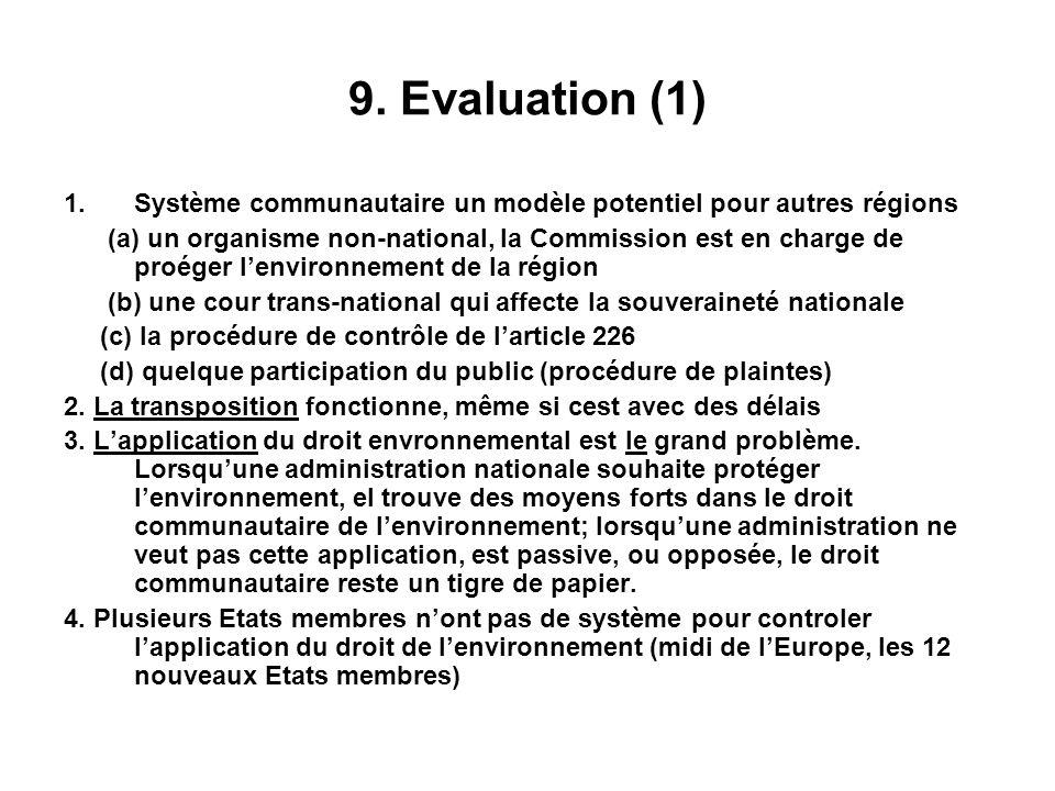 9. Evaluation (1) 1.Système communautaire un modèle potentiel pour autres régions (a) un organisme non-national, la Commission est en charge de proége