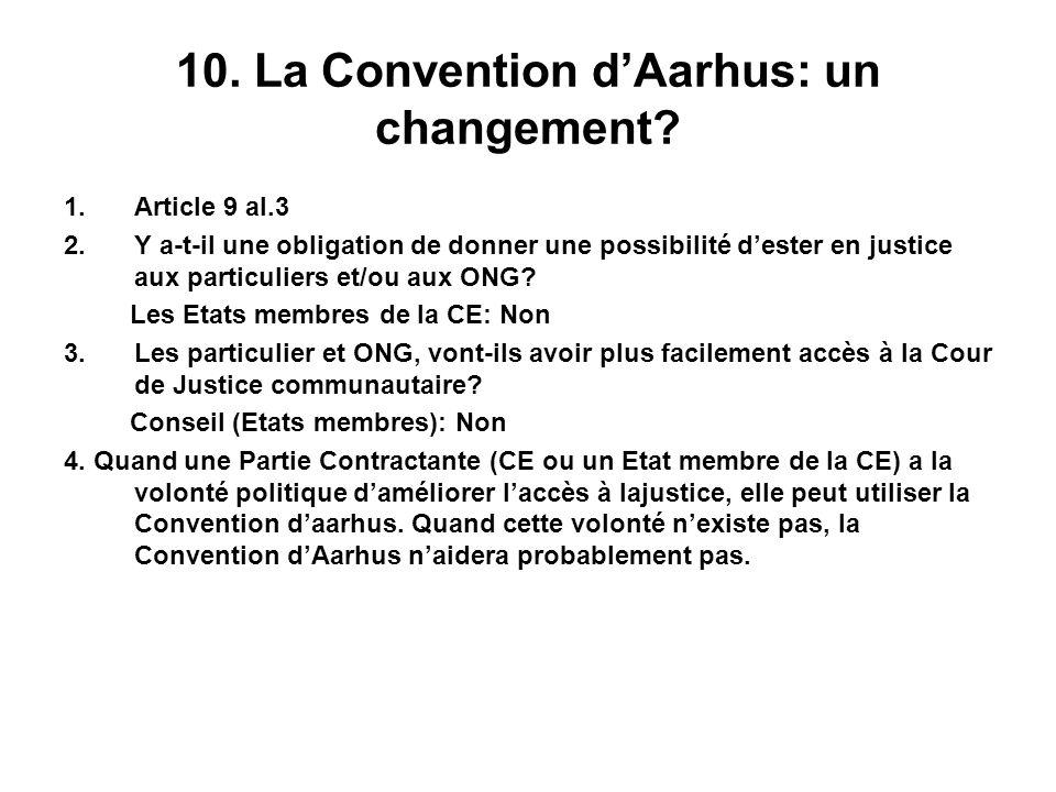 10. La Convention dAarhus: un changement? 1.Article 9 al.3 2.Y a-t-il une obligation de donner une possibilité dester en justice aux particuliers et/o