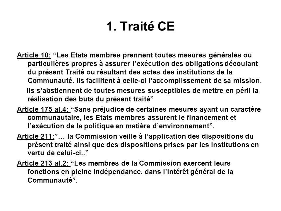 1. Traité CE Article 10: Les Etats membres prennent toutes mesures générales ou particulières propres à assurer lexécution des obligations découlant d