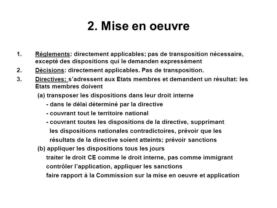 2. Mise en oeuvre 1.Réglements: directement applicables; pas de transposition nécessaire, excepté des dispositions qui le demanden expressément 2.Déci