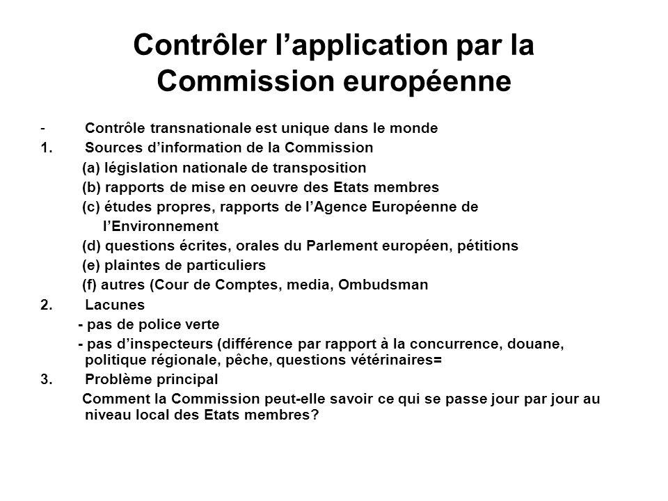 Contrôler lapplication par la Commission européenne -Contrôle transnationale est unique dans le monde 1.Sources dinformation de la Commission (a) légi