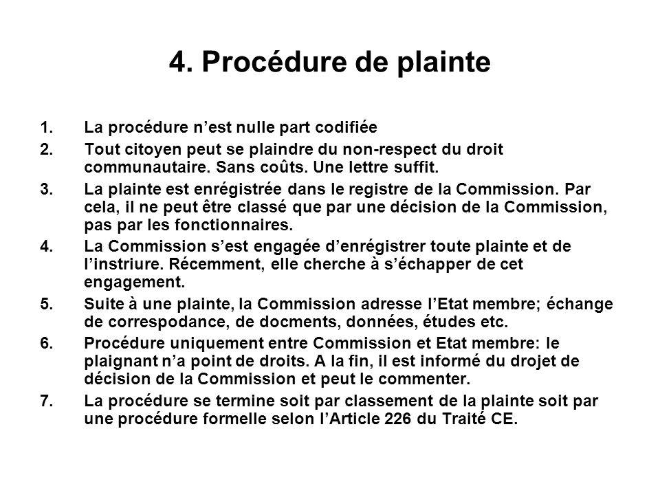 4. Procédure de plainte 1.La procédure nest nulle part codifiée 2.Tout citoyen peut se plaindre du non-respect du droit communautaire. Sans coûts. Une