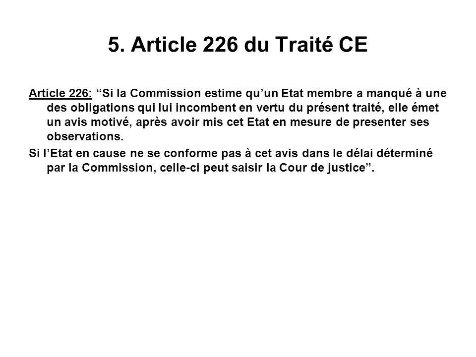 5. Article 226 du Traité CE Article 226: Si la Commission estime quun Etat membre a manqué à une des obligations qui lui incombent en vertu du présent