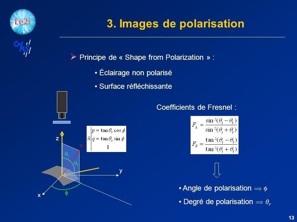 x y z 13 Principe de « Shape from Polarization » : Éclairage non polarisé Surface réfléchissante i r Coefficients de Fresnel : Angle de polarisation Degré de polarisation r n 3.