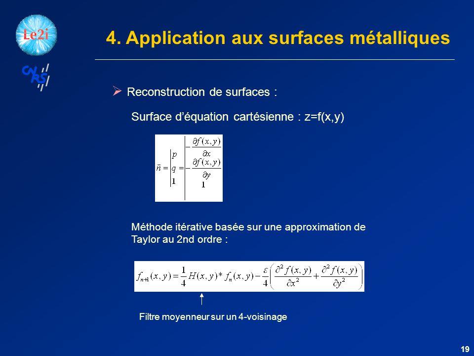 Reconstruction de surfaces : 19 Méthode itérative basée sur une approximation de Taylor au 2nd ordre : 4.