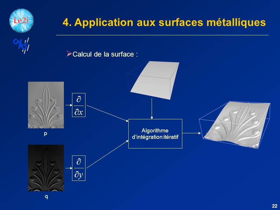 4. Application aux surfaces métalliques Calcul de la surface : p q Algorithme dintégration itératif 22