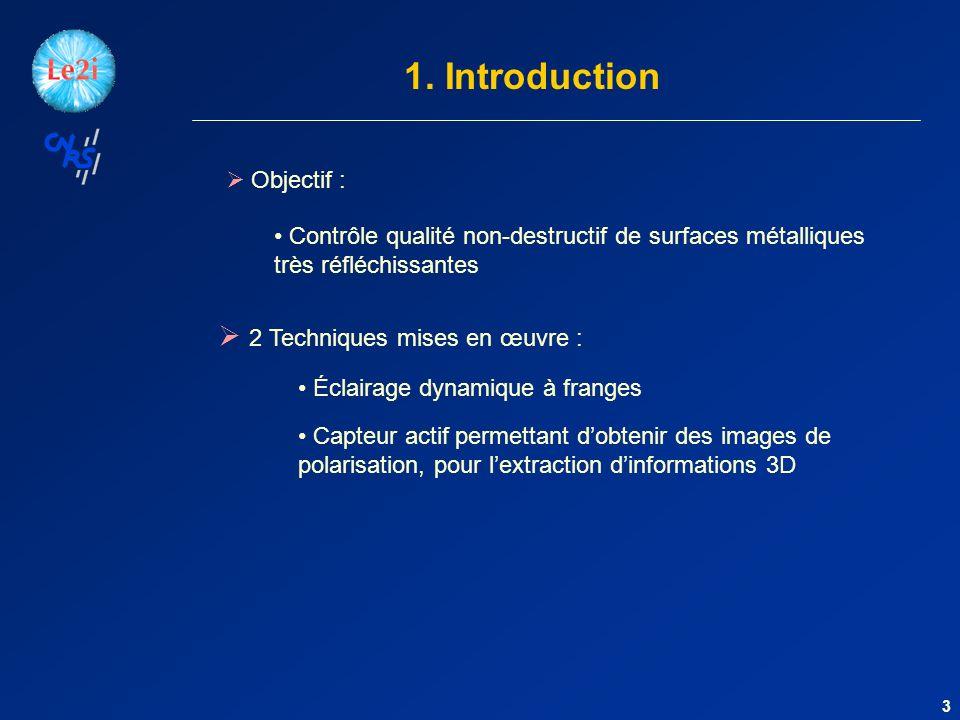 1. Introduction Objectif : 3 Contrôle qualité non-destructif de surfaces métalliques très réfléchissantes Éclairage dynamique à franges 2 Techniques m