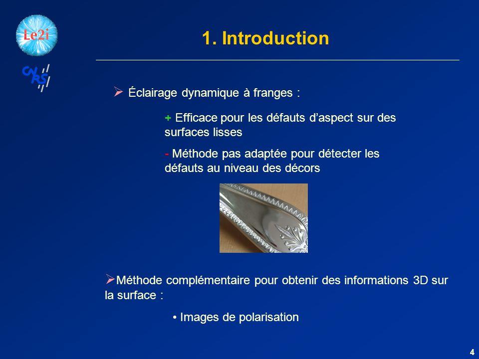 4 1. Introduction Éclairage dynamique à franges : + Efficace pour les défauts daspect sur des surfaces lisses - Méthode pas adaptée pour détecter les