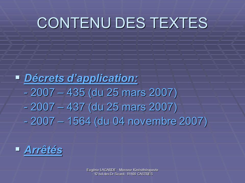 Eugénie LAGARDE - Masseur Kinésithérapeute - 12 bd des Dr Sicard - 81100 CASTRES CONTENU DES TEXTES Décrets dapplication: Décrets dapplication: - 2007