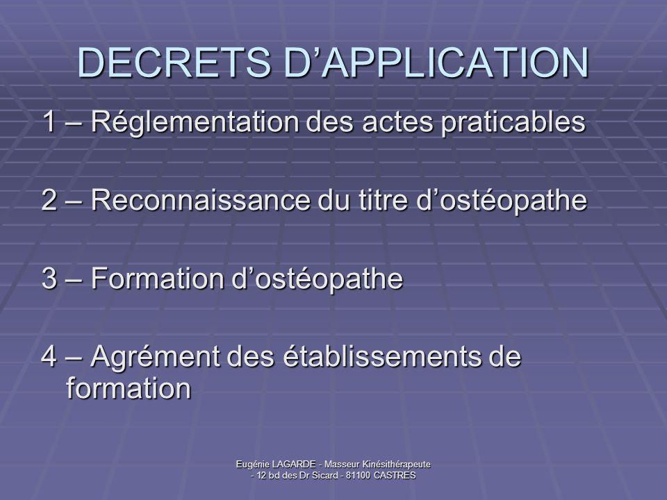 Eugénie LAGARDE - Masseur Kinésithérapeute - 12 bd des Dr Sicard - 81100 CASTRES DECRETS DAPPLICATION 1 – Réglementation des actes praticables 2 – Rec