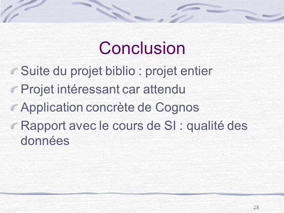 28 Conclusion Suite du projet biblio : projet entier Projet intéressant car attendu Application concrète de Cognos Rapport avec le cours de SI : quali