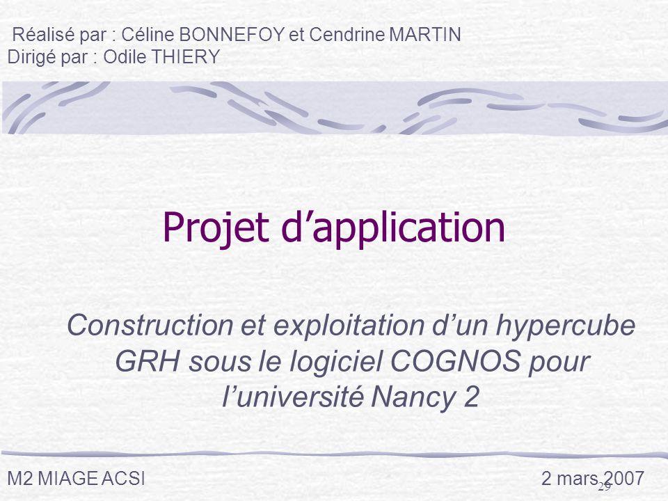 29 Projet dapplication Construction et exploitation dun hypercube GRH sous le logiciel COGNOS pour luniversité Nancy 2 Réalisé par : Céline BONNEFOY e