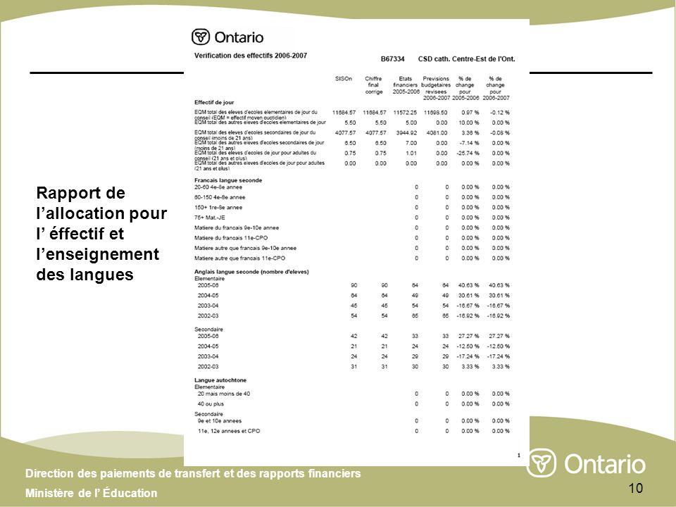 Direction des paiements de transfert et des rapports financiers Ministère de l Éducation 10 Rapport de lallocation pour l éffectif et lenseignement de