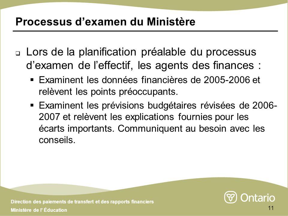 Direction des paiements de transfert et des rapports financiers Ministère de l Éducation 11 Lors de la planification préalable du processus dexamen de