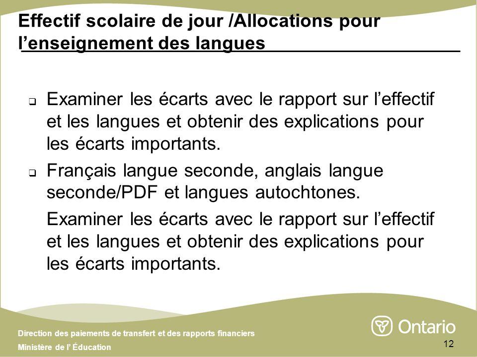 Direction des paiements de transfert et des rapports financiers Ministère de l Éducation 12 Effectif scolaire de jour /Allocations pour lenseignement