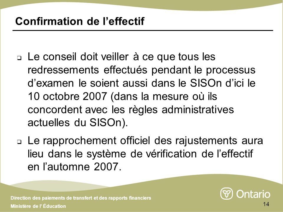 Direction des paiements de transfert et des rapports financiers Ministère de l Éducation 14 Confirmation de leffectif Le conseil doit veiller à ce que