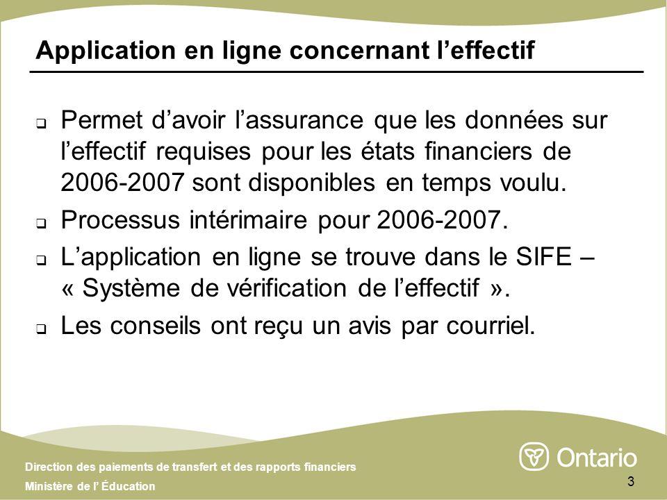 Direction des paiements de transfert et des rapports financiers Ministère de l Éducation 3 Application en ligne concernant leffectif Permet davoir lassurance que les données sur leffectif requises pour les états financiers de 2006-2007 sont disponibles en temps voulu.