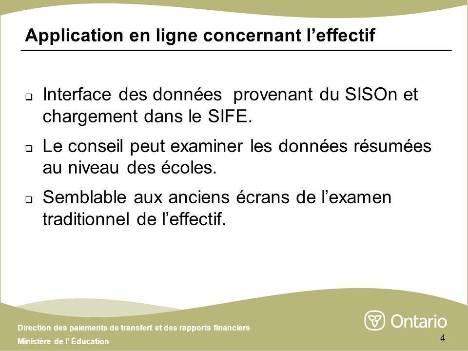Direction des paiements de transfert et des rapports financiers Ministère de l Éducation 4 Application en ligne concernant leffectif Interface des données provenant du SISOn et chargement dans le SIFE.