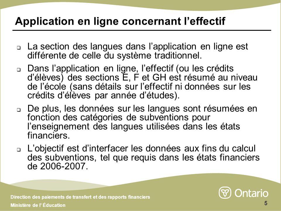Direction des paiements de transfert et des rapports financiers Ministère de l Éducation 5 Application en ligne concernant leffectif La section des langues dans lapplication en ligne est différente de celle du système traditionnel.