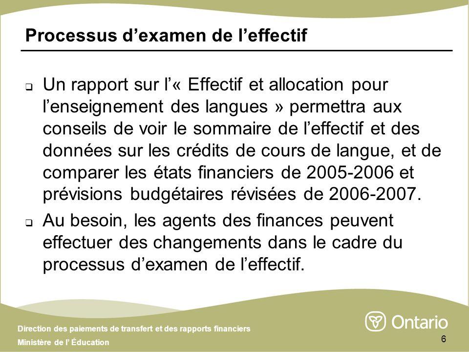 Direction des paiements de transfert et des rapports financiers Ministère de l Éducation 6 Processus dexamen de leffectif Un rapport sur l« Effectif e