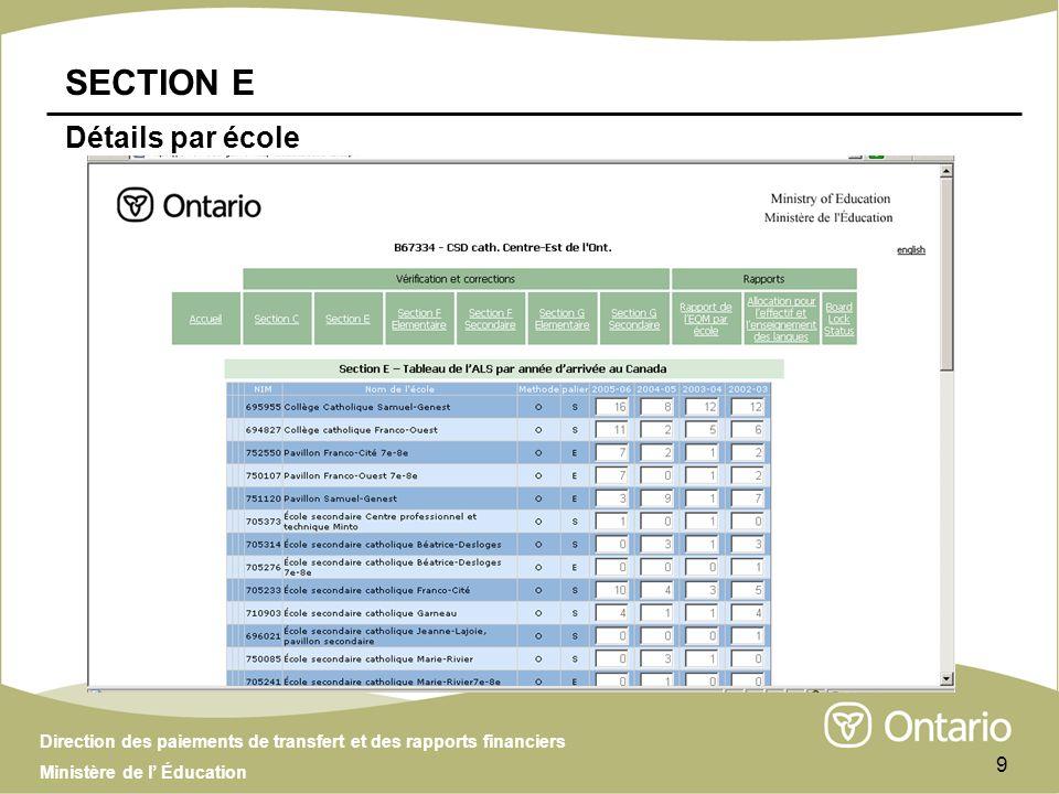 Direction des paiements de transfert et des rapports financiers Ministère de l Éducation 9 SECTION E Détails par école