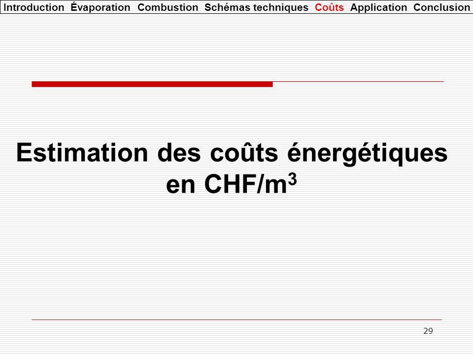 29 Estimation des coûts énergétiques en CHF/m 3 Introduction Évaporation Combustion Schémas techniques Coûts Application Conclusion