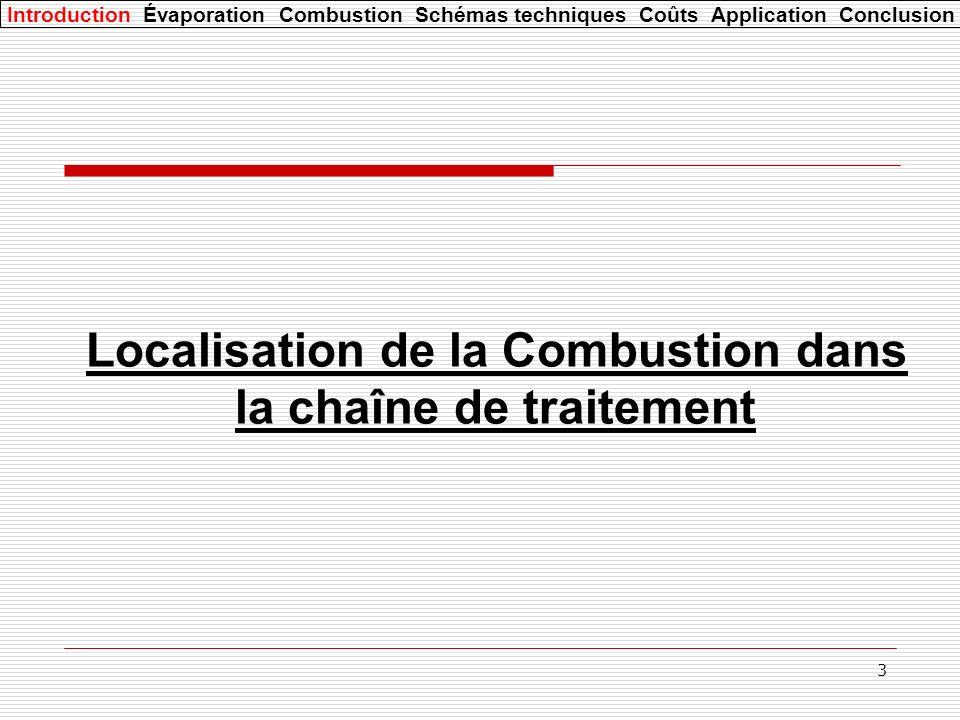 3 Localisation de la Combustion dans la chaîne de traitement Introduction Évaporation Combustion Schémas techniques Coûts Application Conclusion
