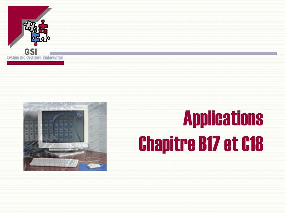 GSI Gestion des systèmes dinformation Applications Chapitre B17 et C18 GSI Gestion des systèmes dinformation