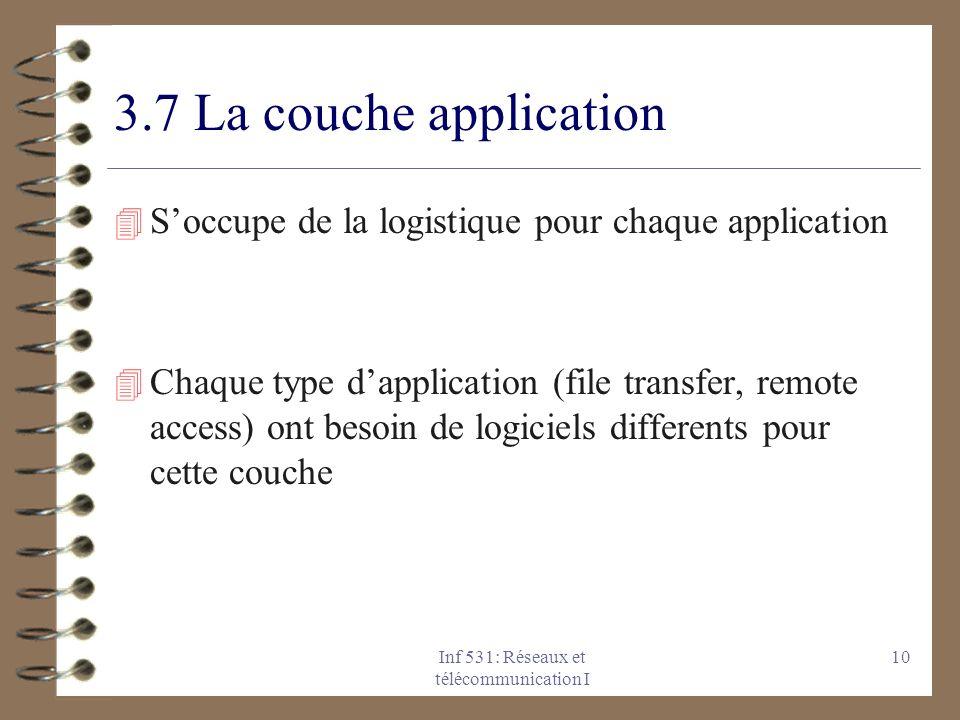 Inf 531: Réseaux et télécommunication I 10 3.7 La couche application 4 Soccupe de la logistique pour chaque application 4 Chaque type dapplication (fi