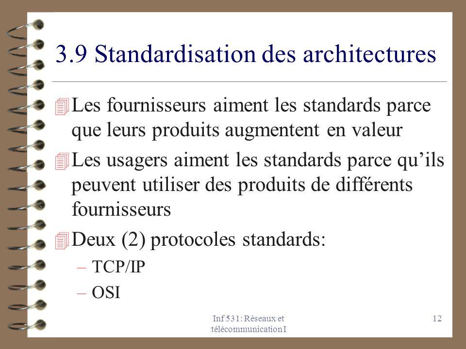 Inf 531: Réseaux et télécommunication I 12 3.9 Standardisation des architectures 4 Les fournisseurs aiment les standards parce que leurs produits augmentent en valeur 4 Les usagers aiment les standards parce quils peuvent utiliser des produits de différents fournisseurs 4 Deux (2) protocoles standards: –TCP/IP –OSI
