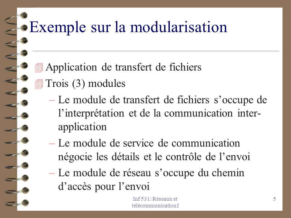 Inf 531: Réseaux et télécommunication I 5 Exemple sur la modularisation 4 Application de transfert de fichiers 4 Trois (3) modules –Le module de trans