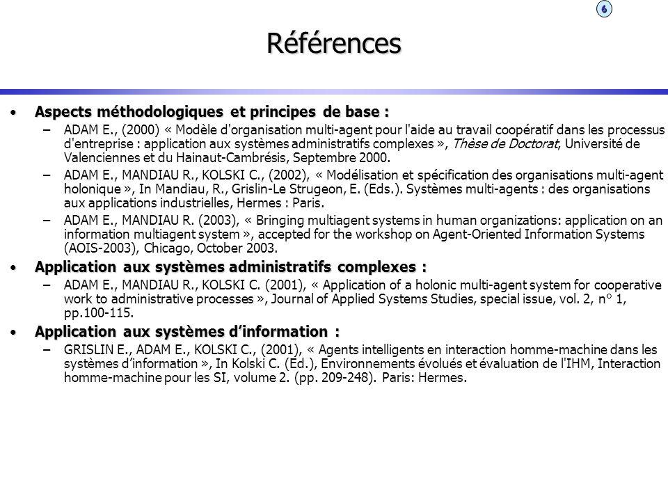 Références Aspects méthodologiques et principes de base :Aspects méthodologiques et principes de base : –ADAM E., (2000) « Modèle d'organisation multi