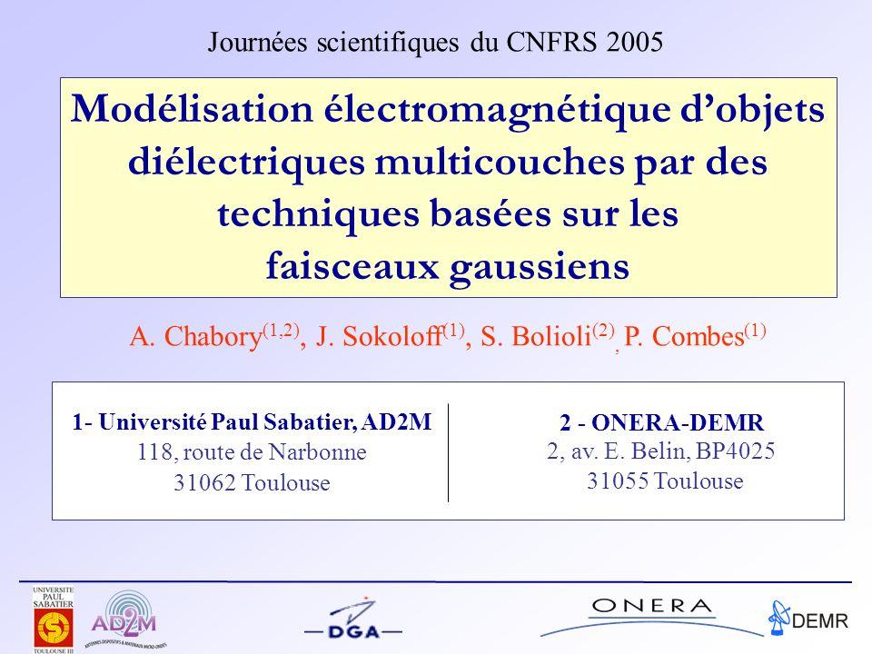 Modélisation électromagnétique dobjets diélectriques multicouches par des techniques basées sur les faisceaux gaussiens Journées scientifiques du CNFRS 2005 2 - ONERA-DEMR 2, av.