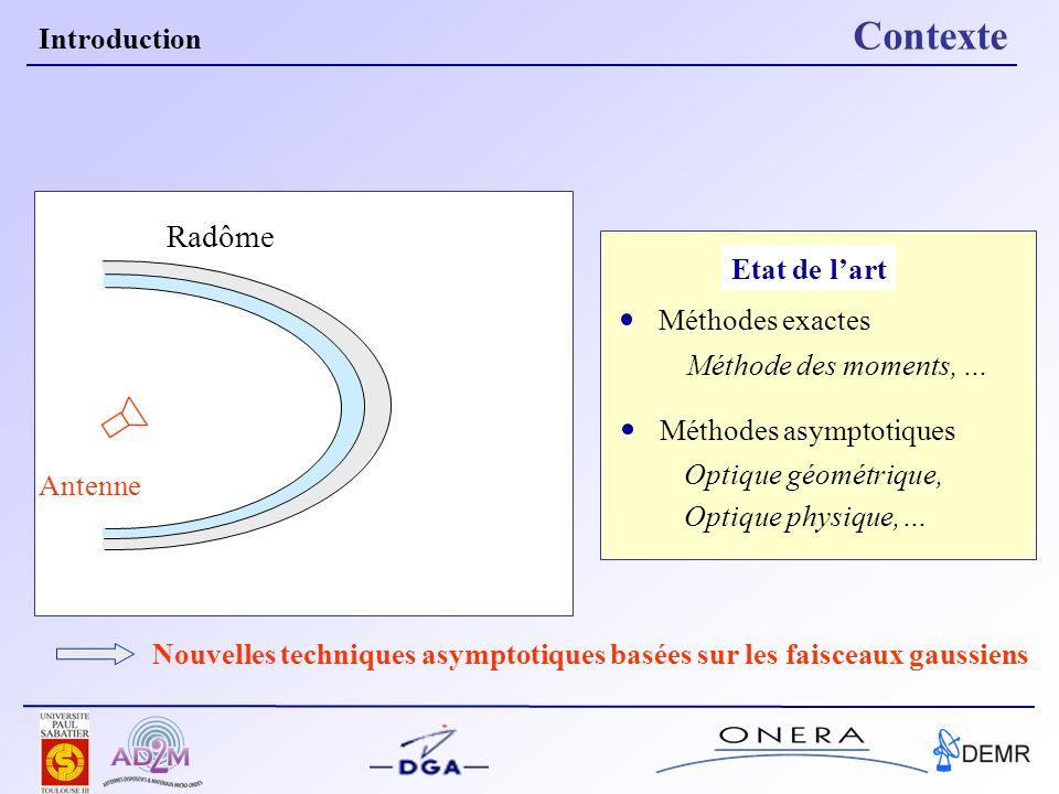 Etat de lart Introduction Contexte Radôme Nouvelles techniques asymptotiques basées sur les faisceaux gaussiens Méthodes exactes Méthode des moments,