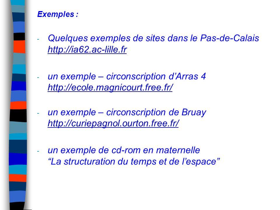 Exemples : - Quelques exemples de sites dans le Pas-de-Calais http://ia62.ac-lille.fr http://ia62.ac-lille.fr - un exemple – circonscription dArras 4