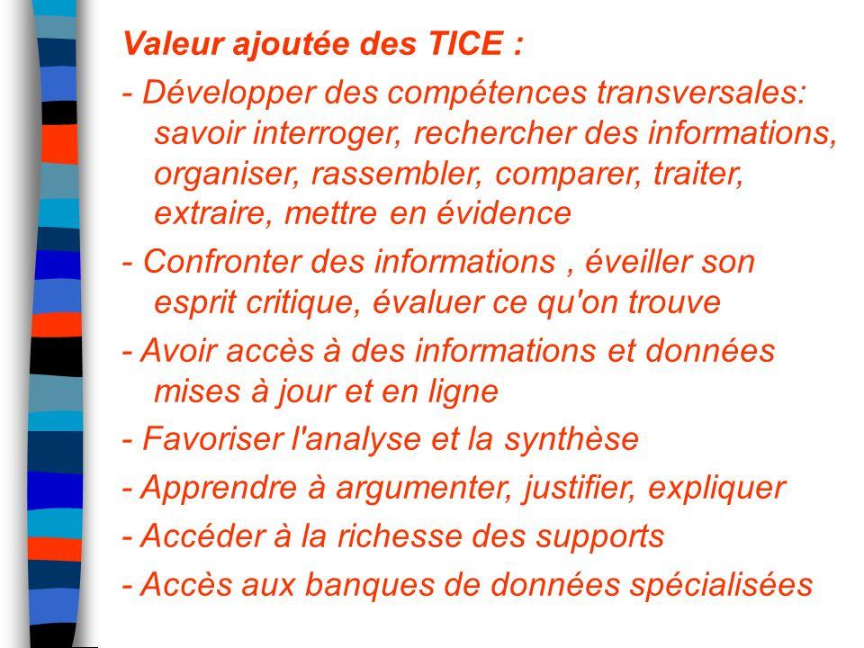 Valeur ajoutée des TICE : - Développer des compétences transversales: savoir interroger, rechercher des informations, organiser, rassembler, comparer,