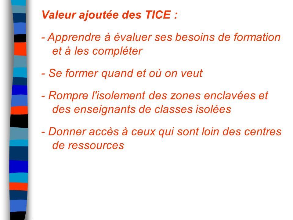 Valeur ajoutée des TICE : - Apprendre à évaluer ses besoins de formation et à les compléter - Se former quand et où on veut - Rompre l'isolement des z