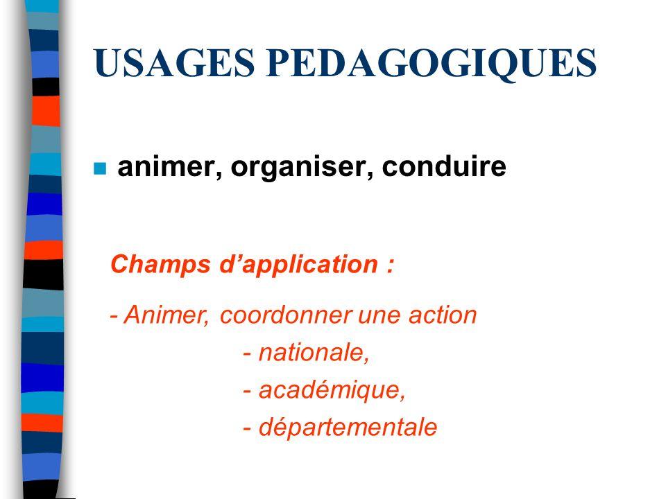USAGES PEDAGOGIQUES n animer, organiser, conduire Champs dapplication : - Animer, coordonner une action - nationale, - académique, - départementale